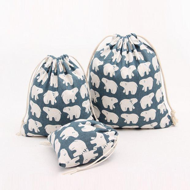 ᗕ2 unids/lote bonito Mini bolsa de almacenamiento de algodón de ...