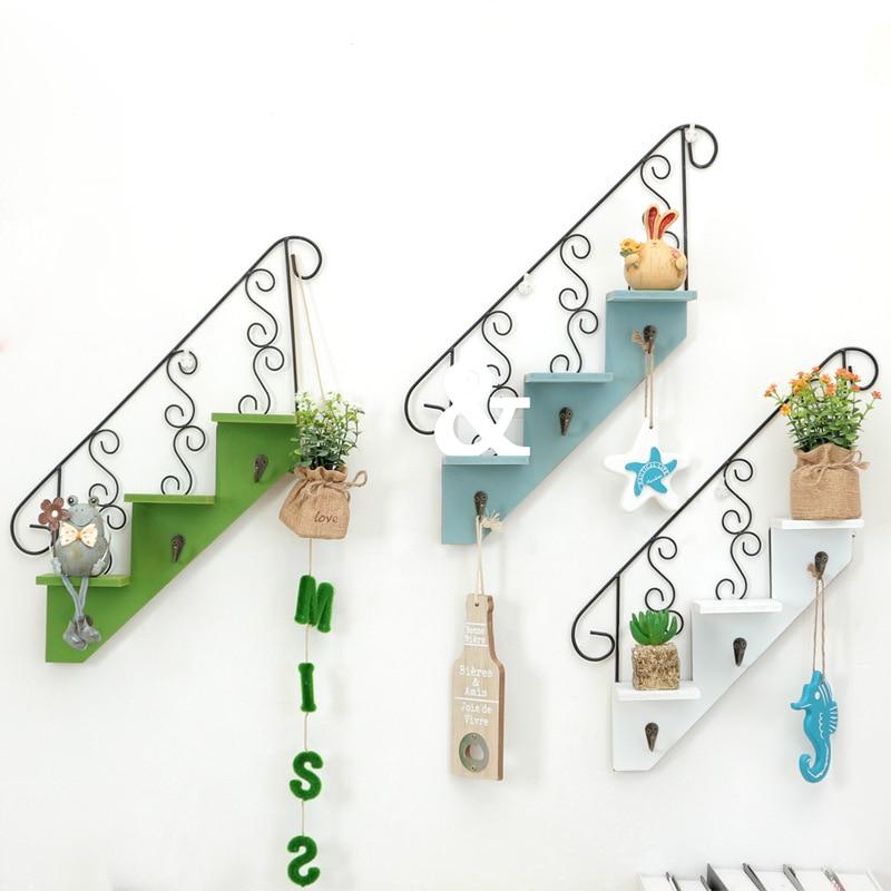 Creative Wall Shelf Home Hanging Storage Rack Wood Plate Display Rack Wall Mounted Coat Hook Shelves Garden Decorative JJ4