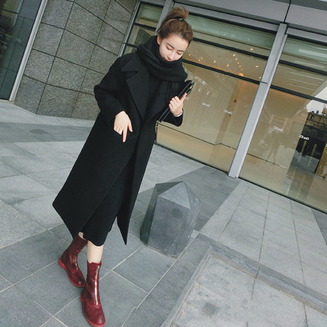 Korea Winter Woman Coat Female 2018 Long Thick Jacket Double-faced Woolen Windbreaker Women's Slim Overcoat Cashmere Coat Women