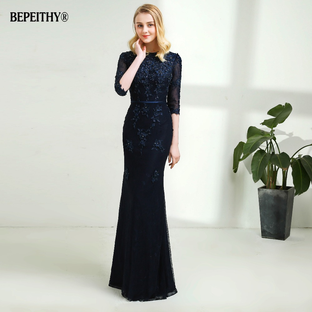Modest Mermaid Lace   Evening     Dress   Half Sleeves Custom Made Full Length Vintage Mother Of The Bride   Dresses   2019 Vestido De Festa