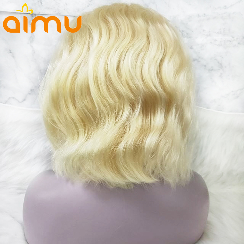 Blonde Transparent Film Lace Front Blond Water Wave Blunt Cut Bob 613 Color Human Hair Wig Remy Brazilian Invisible PrePlucked