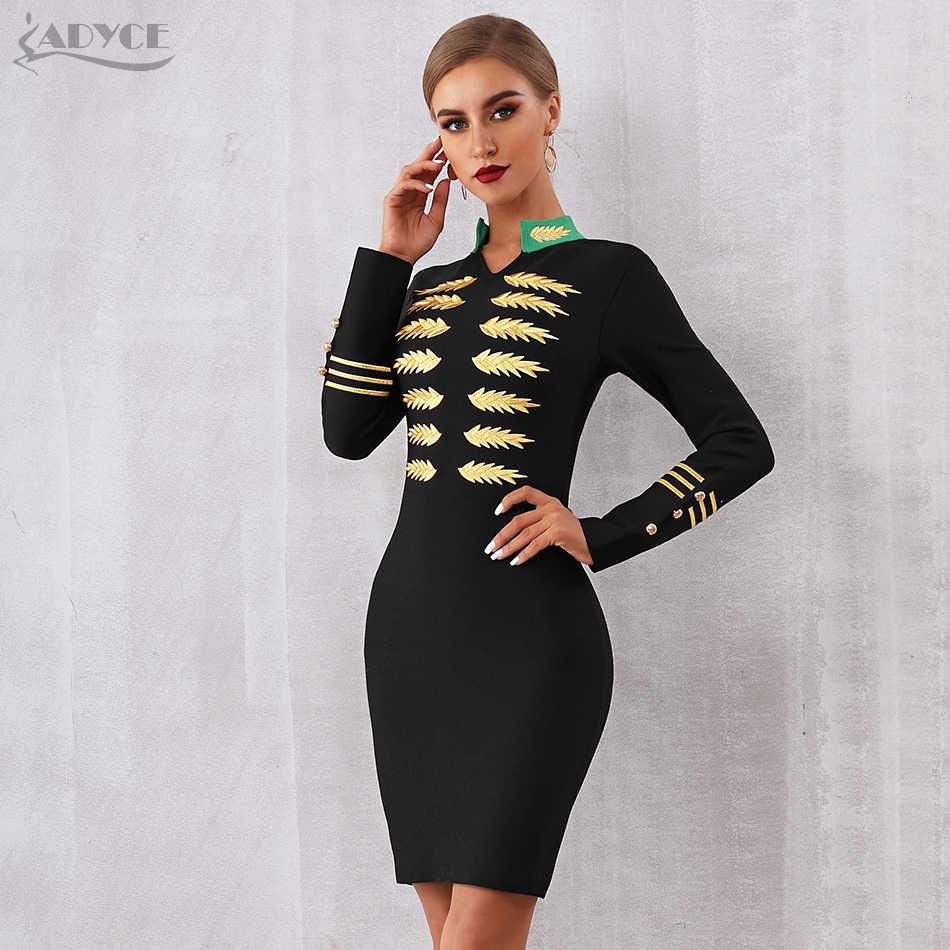ADYCE 2019 новый весенний бандаж знаменитости для вечеринок платье женское с длинным рукавом V образным вырезом сексуальное черное мини роскошное облегающее Клубное платье Vestidos