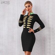ADYCE 2020 New Winter Long Sleeve Celebrity Party Bandage Dress Women  V Neck Sexy Black Mini Luxury Bodycon Club Dress Vestidos