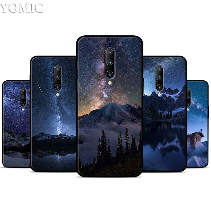 Starry Sky Moon Stars Mountain Silicone Case for font b Oneplus b font font b 7