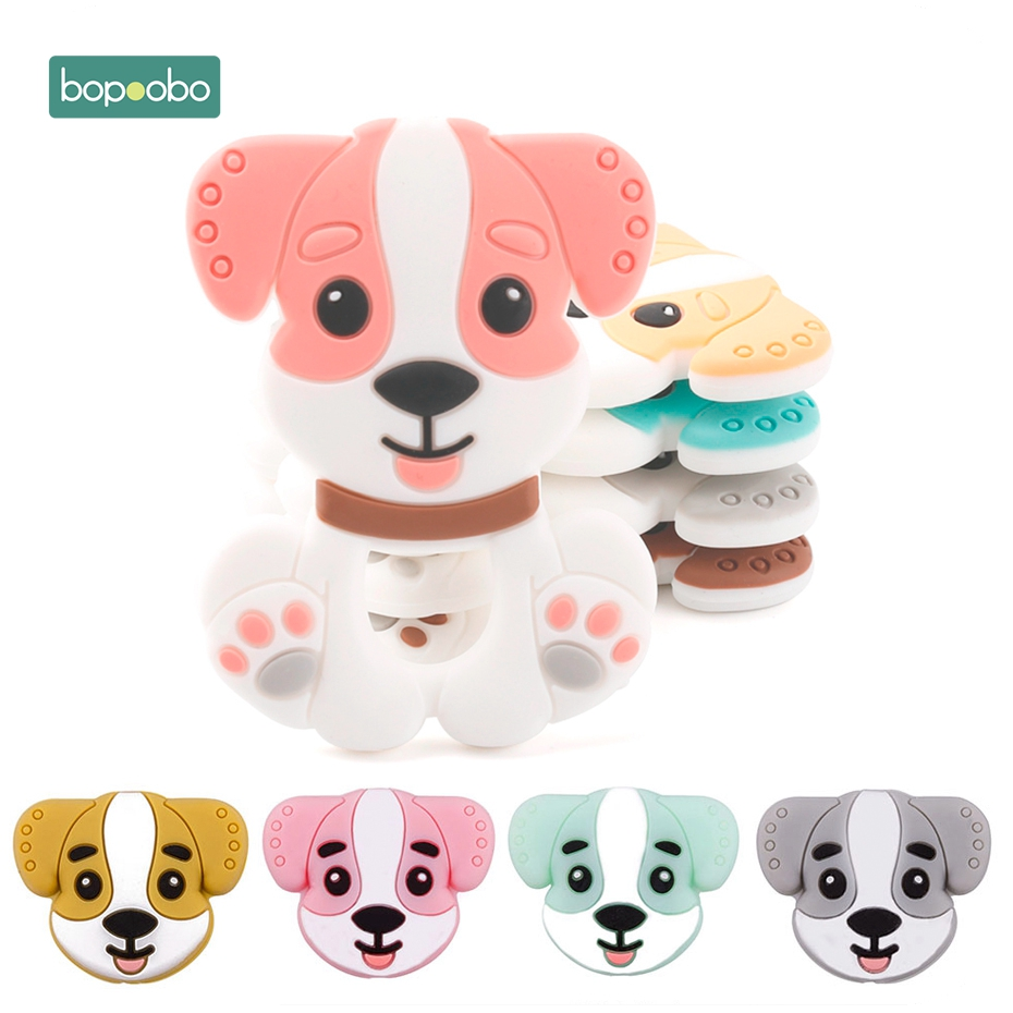 Bopoobo Mini Dog Teether Silicone 15mm Teether Beads Tiny Rodents Pearls 0-12 Months Silicone Unicorn Rattle Baby Teether