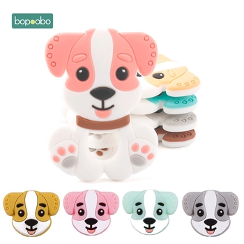 Bopoobo Mini Dog Teether Silicone 15mm Teether Beads Tiny Rodents Pearls 0-12 Months Silicone Unicorn Rattle Baby Teether bopoobo 20pc silicone mini crown beads baby teething beads silicone grass pearls food grade silicone rodents baby teether