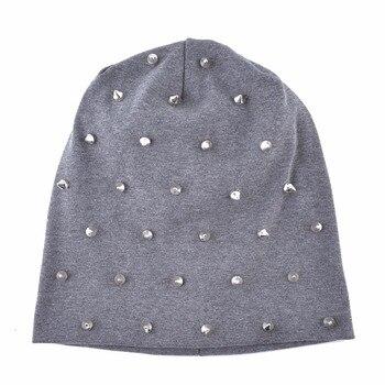 Autumn Beanie Women Solid Color Rivet Skullies Beanies Female Fashion Hip Hop Hat Spring Double Layer Cotton Bonnet Turban Caps 2