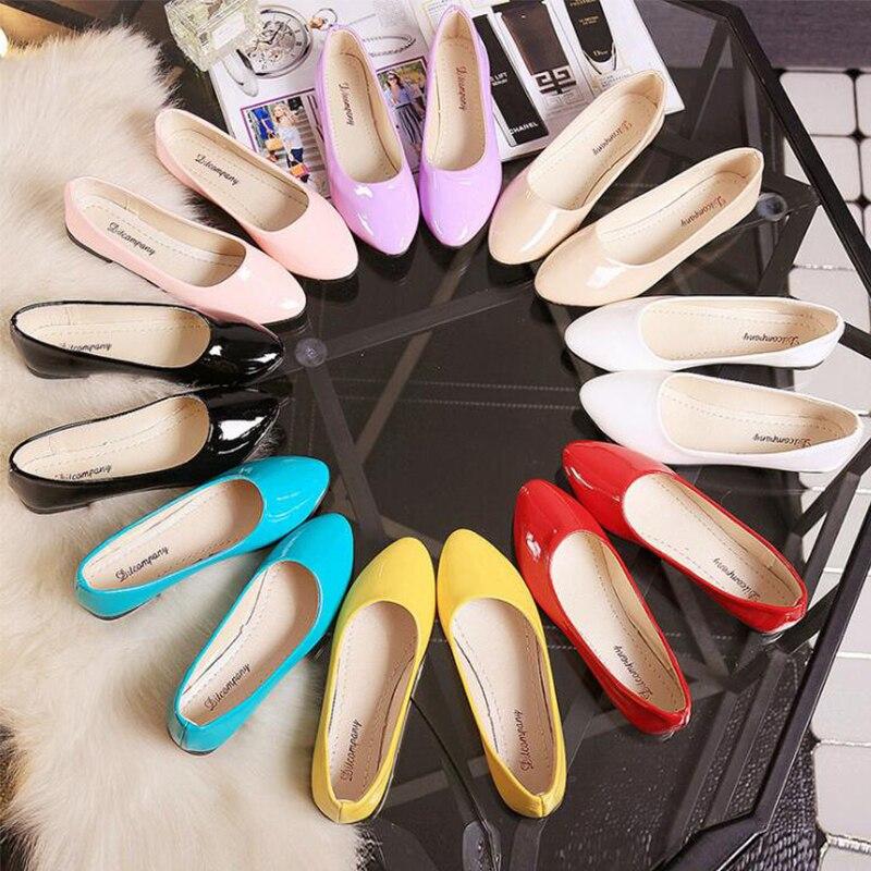 VTOTA גודל 35-42 נשים דירות להחליק על נעלי לנשים מתוק צבעים בוהקים אישה נעלי נשות נעלי בלט chaussures femme