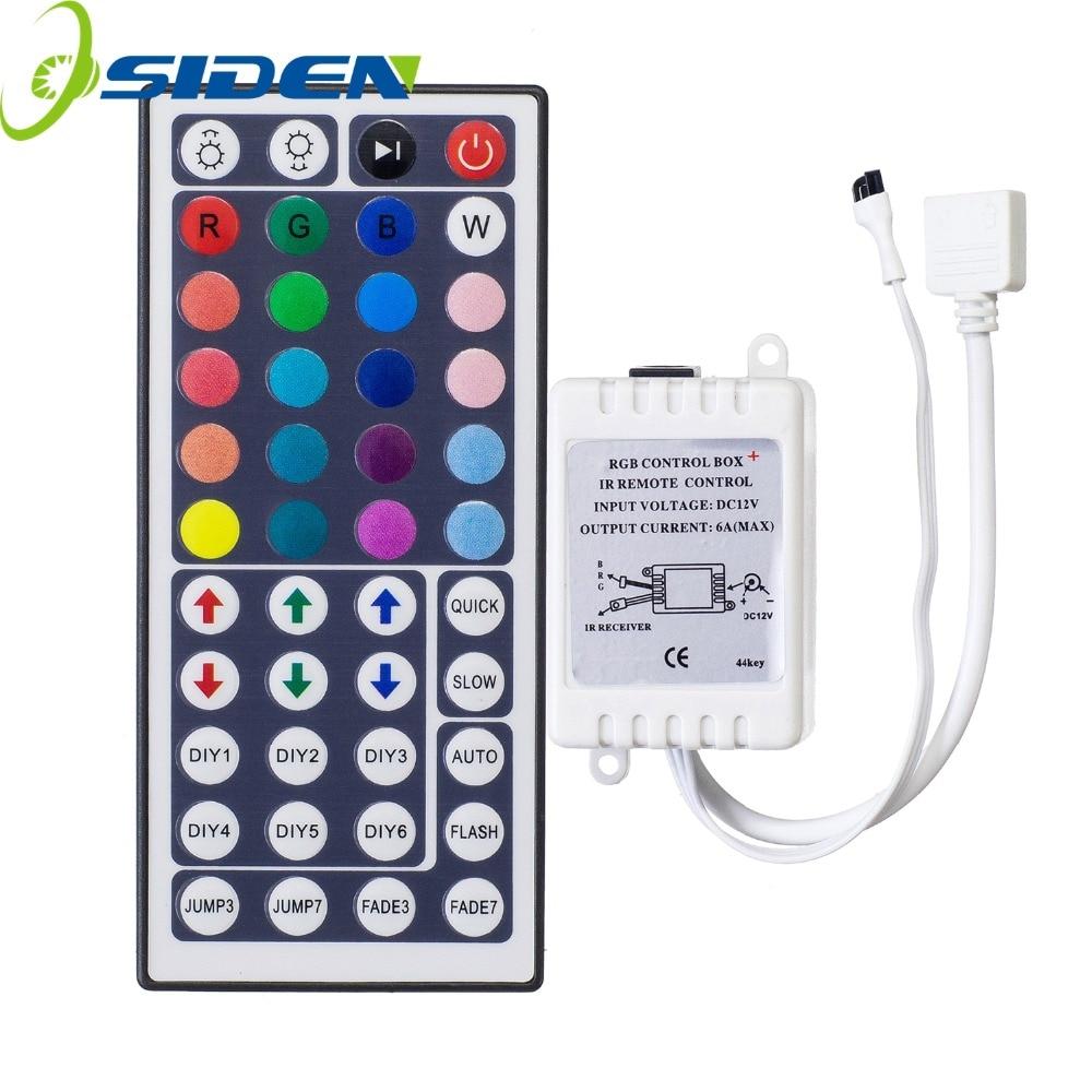 Controlador Led de 44 teclas, Controlador LED IR RGB, controlador remoto de luces LED, regulador IR DC12V 6A para RGB 3528 5050, tira LED