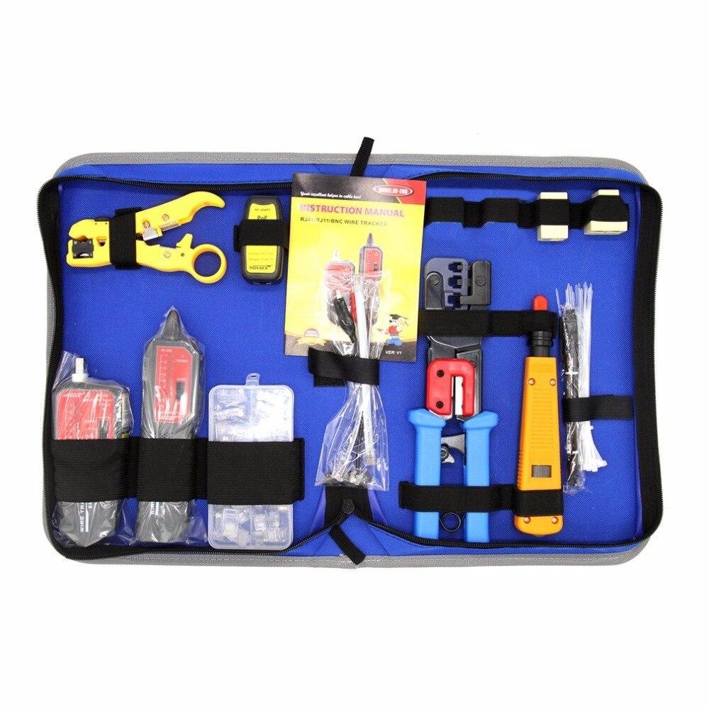 Réseau Informatique Maintenance Repair Tool Kit Avec Fil Tracker NF-268 Décapant Punch Down Outil de Sertissage Testeur Décapage Couteau