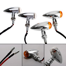2Pcs 4Pcs Motorcycle Chrome Bullet Turn Signals Indicator Lights Amber Lamp for Choppers Cruisers Honda Yamaha Cafe Racer
