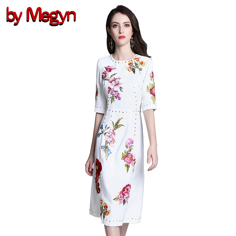 by Megyn floral embroidered dress women round neck crystal diamonds half sleeve white casual dresses ladies elegant party dress white casual round neck ruffled dress