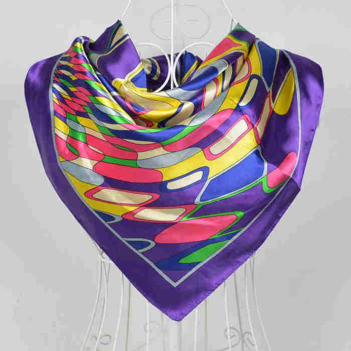 Дизайн женский Шелковый большой квадратный шелковый шарф из полиэстера, 90*90 см горячая Распродажа атласный шарф с принтом для весны, лета, осени, зимы - Цвет: 52 purple