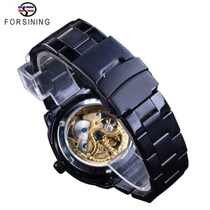Image 5 - Forsining Retro Classic Royal Design Golden Skeleton Black Steel Transparent Mens Automatic Mechanical Watches Top Brand Luxury