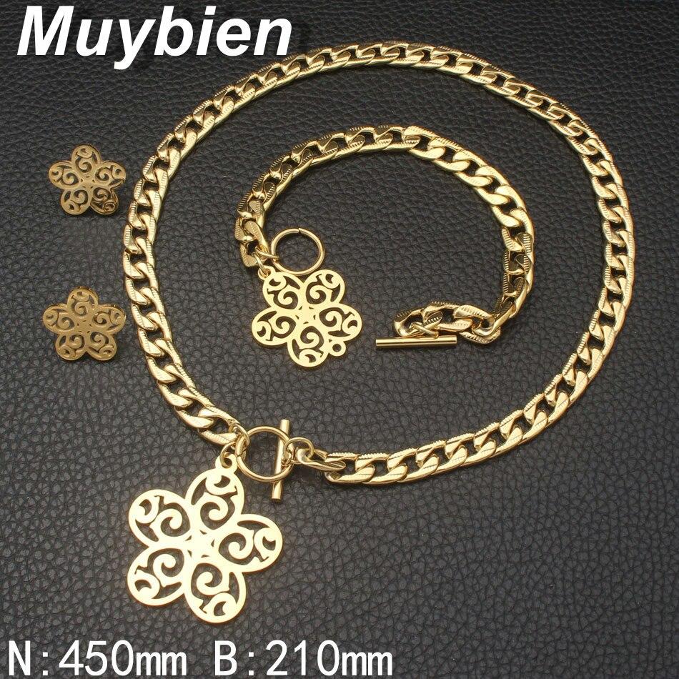 Nuevo diseño Acero inoxidable dorado Pulsera y collar Pendientes - Bisutería - foto 2