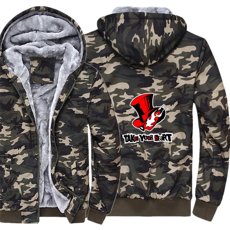Game P5 Persona 5 Hoodie Winter Casual Super Warm Camouflage Coat Thicken Warm Zipper Hooded Casual Sweatshirts