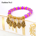 Retro Vintage Palm Bead Jewelry For Women Bracelets Rhinestone Indian Bangle Fashion Gold Plated Pulseiras For Girl Jewelry
