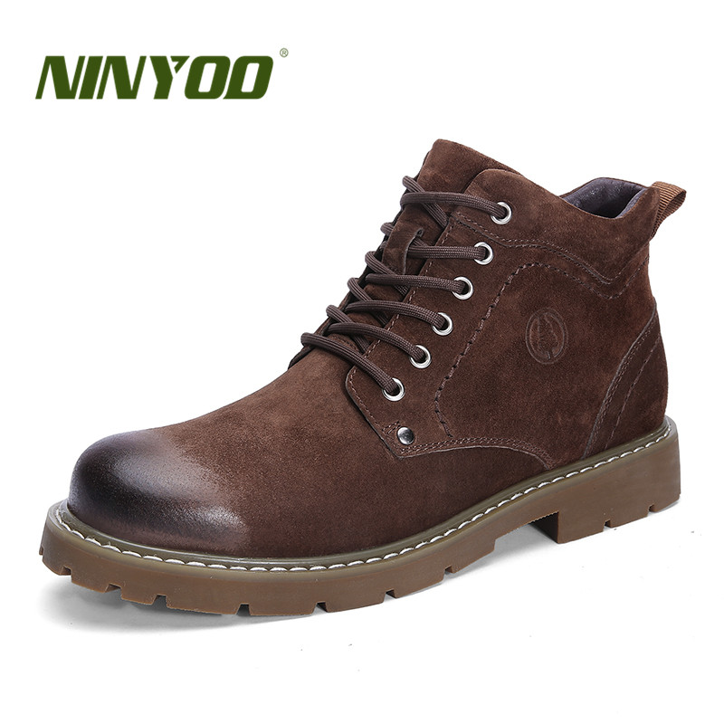 NINYOO New Men's Winter Boots 50 Genuine Leather 49 Ankle Warm Martin Shoes 47 Waterproof Working Snow Boots 48 Plus Size 51 52