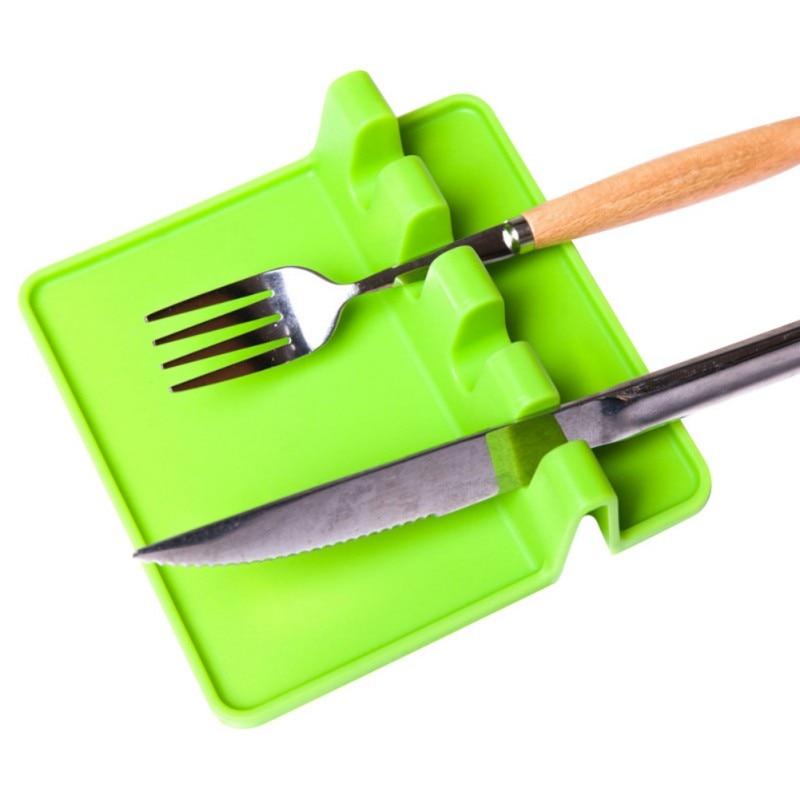 Термостойкая ложка, лопатка, посуда, ложка, вилка, коврик для кухни, подставка под горячее, силиконовые аксессуары - Цвет: Зеленый