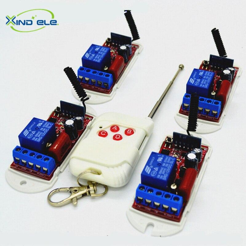 цена на XIND ELE 4pcs Remote Control Light Switch AC110V-220V 4-key RF 315mhz Transmitter For Home Automation #RF220-1L-315-4+WR4#