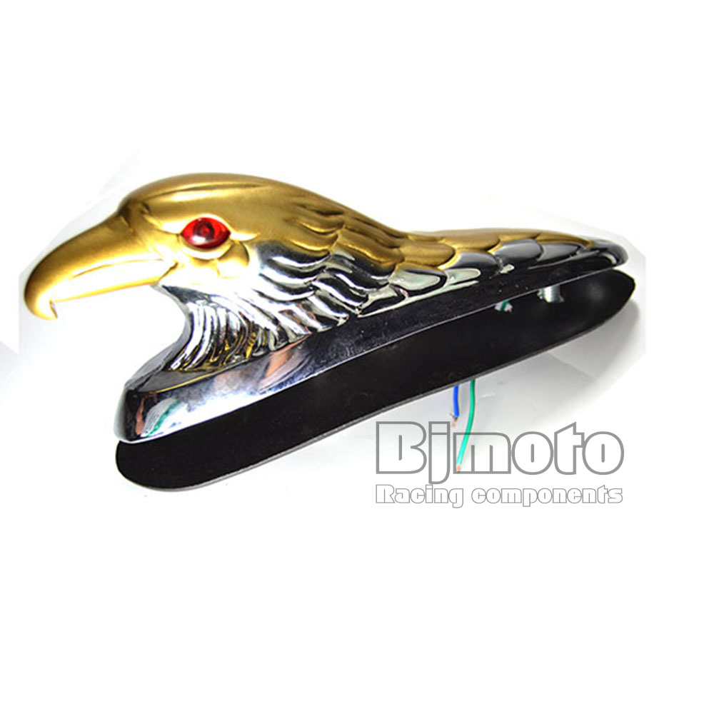 LPL-021-CR-GO Chrome Gold Eagle Head Ornament Statue For Motorcycle motorbike ATV Front Fender Frames & Fittings Car Bonnet