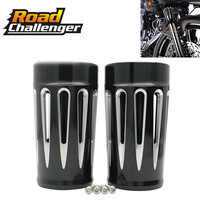 Motorcycle Front Fork Boot Slider Covers For Harley Touring Road King Street Electra Glide 1980 2013 2014 2016 CNC Aluminum