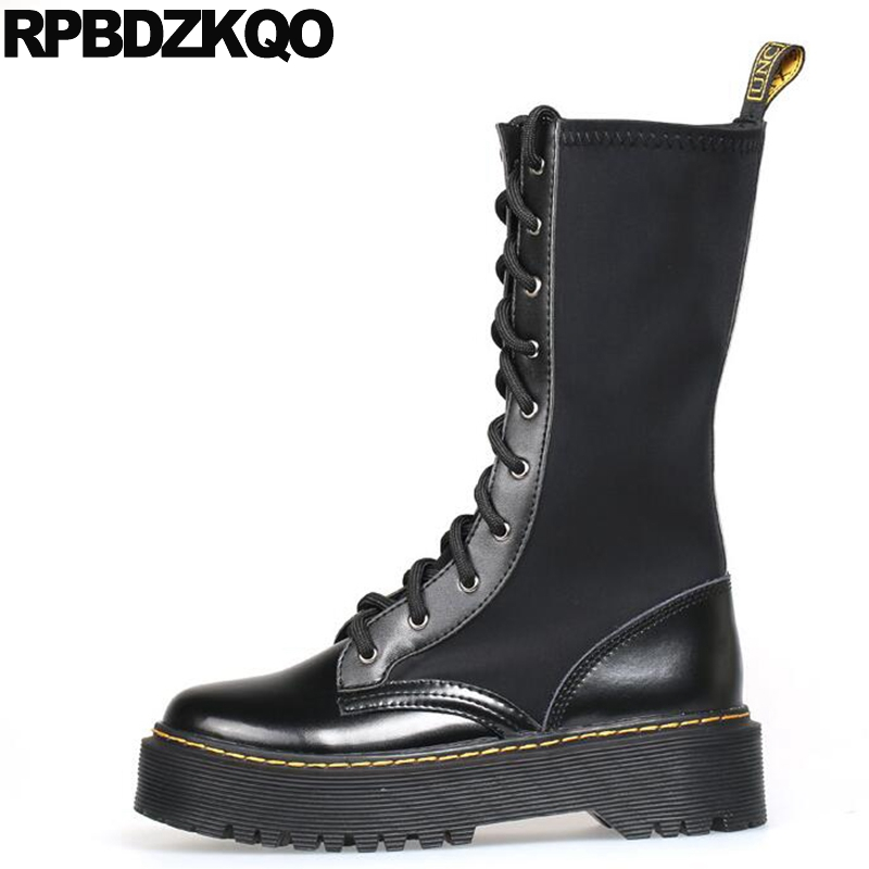 Stretch Platform Black Designer Women Army Military Flat Shoes Combat Autumn Round Toe Muffin Front Lace Up Casual Ankle Boots