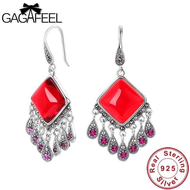 GAGAFEEL 925 Thai Silver Bohemian Ethnic Earrings for Women Hyperbole Fringe Long Red Earring Peacock Blue Silver Drop Earrings