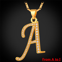 2016 New 26 Alphabet Letter Pendant Charm Necklace Women Men Jewelry Platinum Gold Plated A To