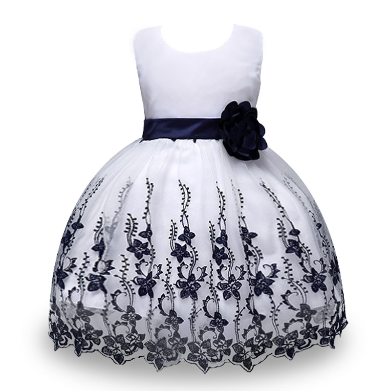 Fashion Flower Embroidered Girls Dress Bow Tie Champagne Wedding Pageant 2017 Summer Princess Party Dresses Children Clothes flowers embroidered retro bow tie