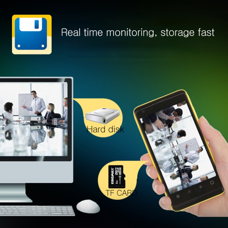 Wifi Alarm Clock With HD 1080P Night Vision Camera Real Time