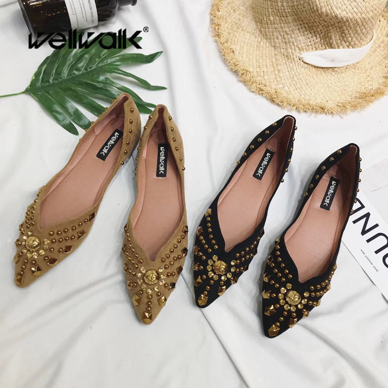 Shallow Flat Shoes Women Slip On Casual Ballet Flats Shoes Ladies Rivet String beads Ballerinas Luxury 2018 Flock Suede Shoes women casual slip on flats fashion ladies casual flat shoes new women s round toe shallow mouth flats big size 34 47 ballerinas