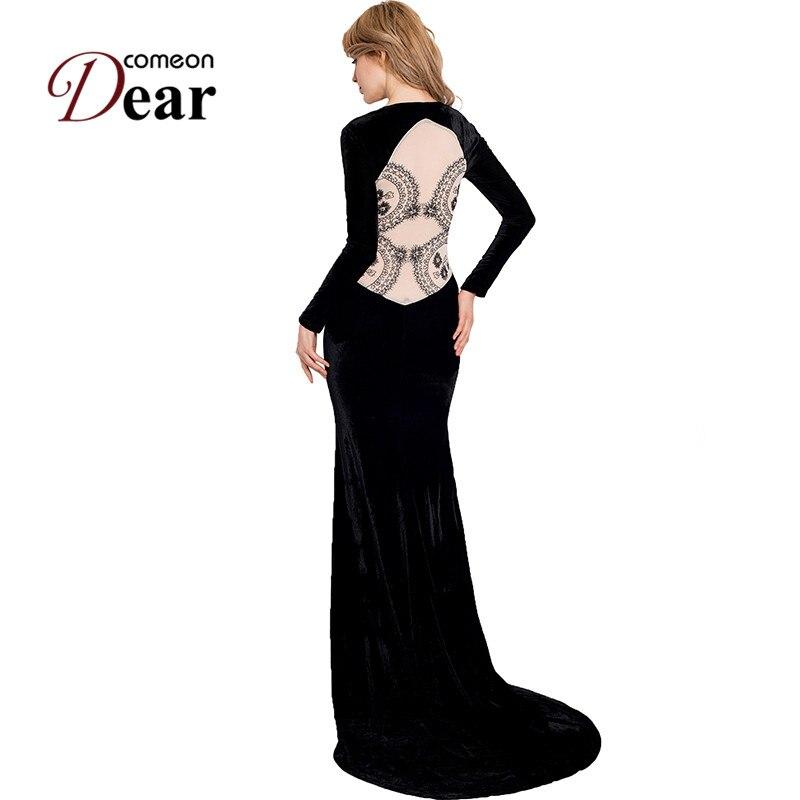 RA70214 Comeondear černé sametové šaty Elegantní šaty s dlouhým rukávem Prom dlouhé šaty Krajka zpět Prohlédnout Maxi šaty