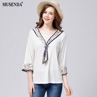 MUSENDA Plus Size Women Floral Print Ties White T Shirt 2017 Autumn Three Quarter Butterfly Sleeve