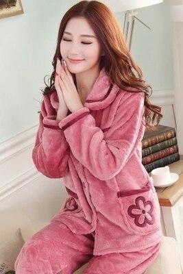 Mujeres de franela gruesa pijama de terciopelo de coral de servicio a domicilio de manga larga otoño e invierno tamaño invierno chándal encantadora pijamas de las mujeres