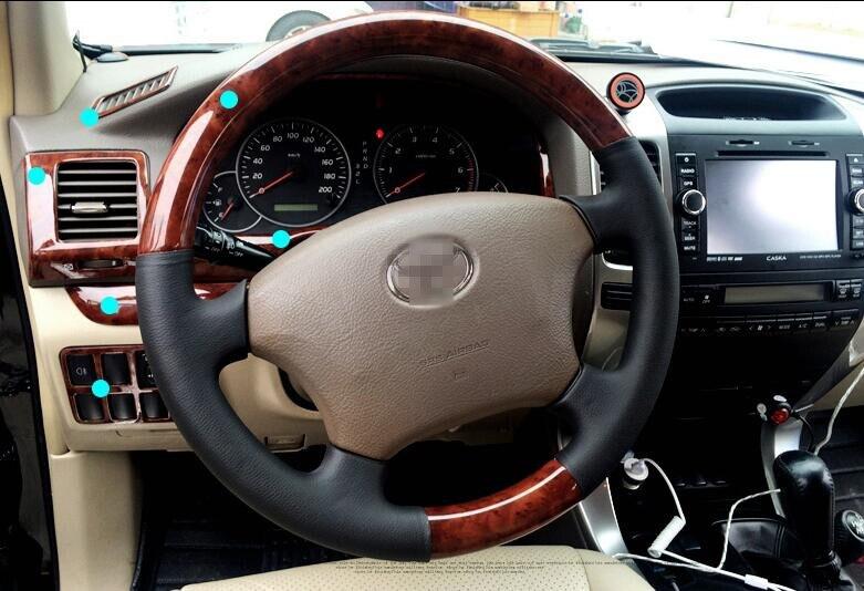 Pour TOYOTA Prado 2003-2006 2007-2009 De Luxe Bois Chrome De Voiture Intérieur Décoratif Cadre capots de bordure Car Styling Auto accessoires