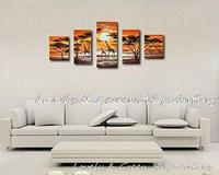 Hand Painted Modern Abstract Landscape Oil Painting Canvas African Giraffes Wall Pictures For Living Room 5 Pieces Wall Art
