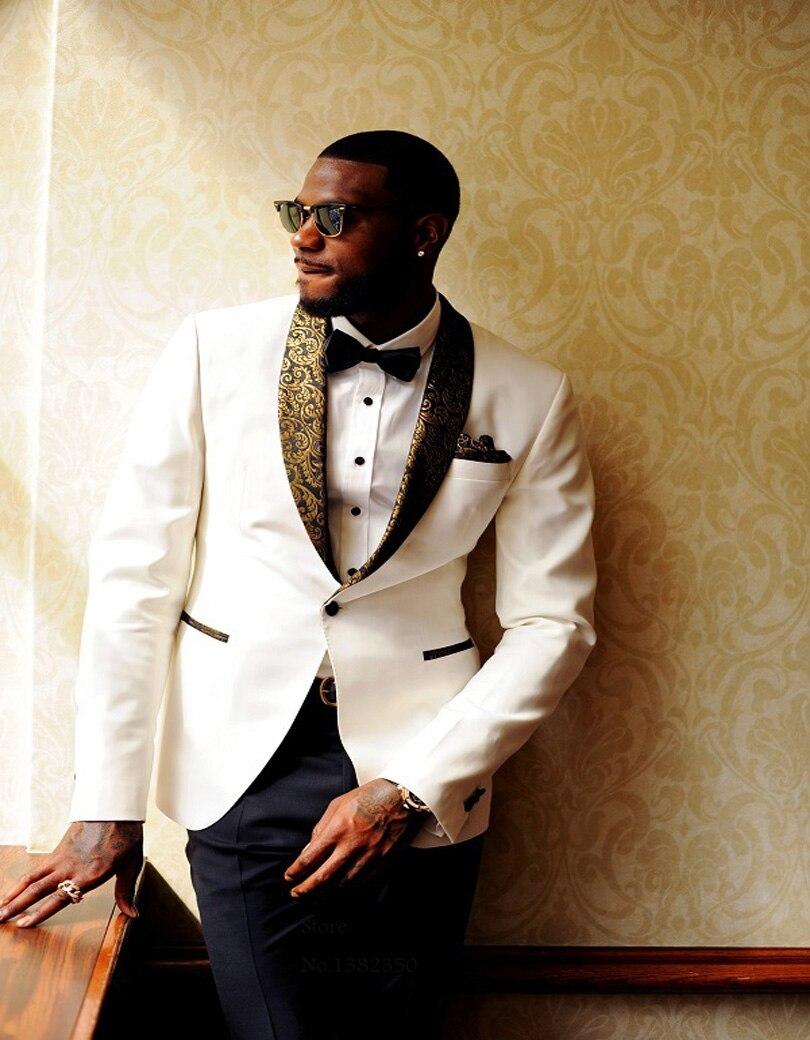 New White Dot Fabric Laple Groom Men/'s Wedding Suits Formal Party 2 Piece Suits