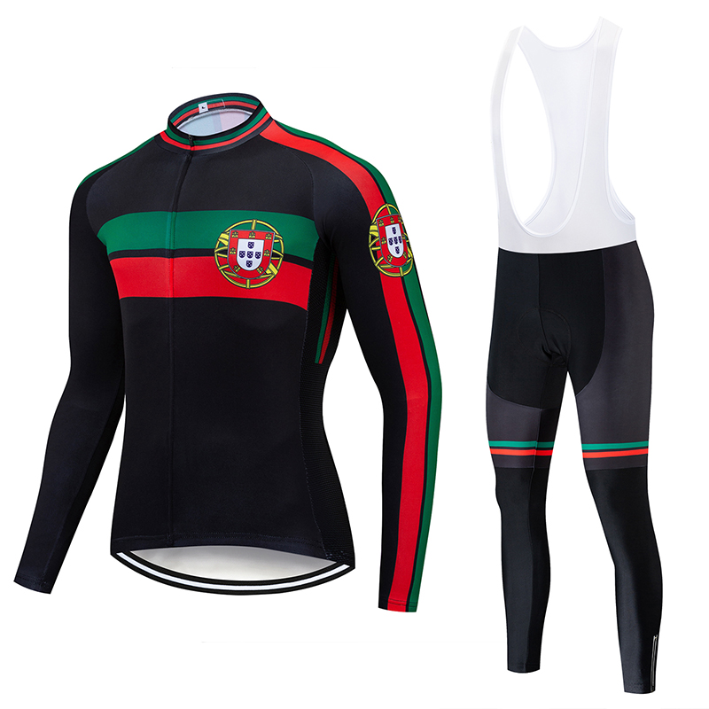 Portugal 2019 Men Cycling Jersey Sets Long Sleeve Jersey Team Cycling Clothing Road Bike & Mtb Riding Apparel Ropa Ciclismo