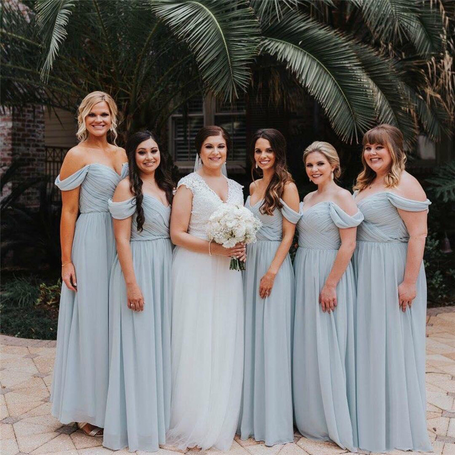 Elegant Long Chiffon   Bridesmaid     Dress   Sweetheart Off The Shoulder A Line Floor Length High Quality Wedding Party Gowns Cheap