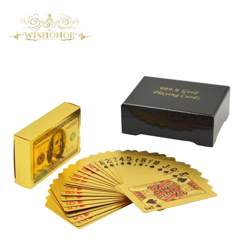 Nové 24K vlastní hrací karty obarvené 100 USD dolarovými pokerovými kartami v 99,9 zlacené dřevěnou krabicí a zlatým certifikátem