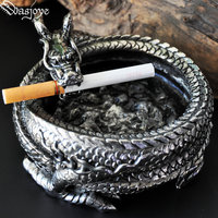 Royal Dragon Titanium Steel Cigar Ashtray Creative Decorative Ornaments Gifts Cigar Accessories Metal Crafts