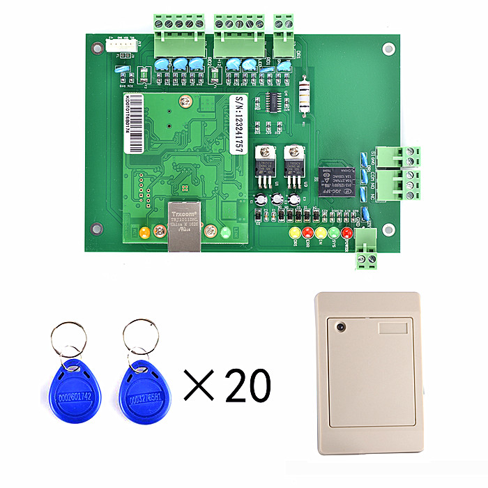 New RFID TCP/IP One Door Access Control Board Green Board TCP/IP+Free English Software +1 Pcs Card Reader+ 20 RFID Card biometric fingerprint access controller tcp ip fingerprint door access control reader
