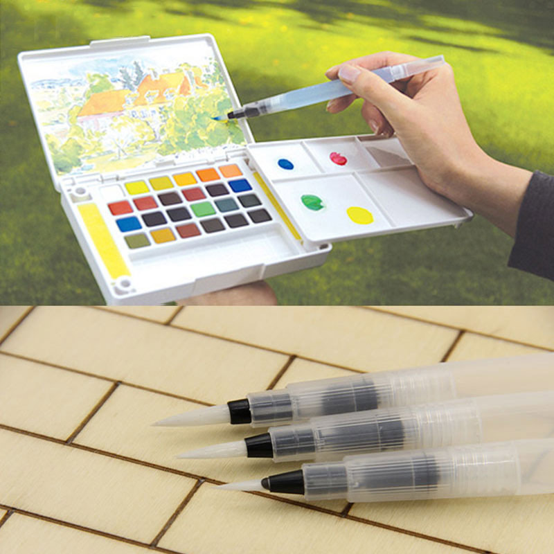 4 PCS 12cm Water Brush Pen Ink Water Color Calligraphy for Beginner Painting Office Gift brocade water write cloth suit thick imitation xuan paper adult beginner entry water write brush pen posts dd1303