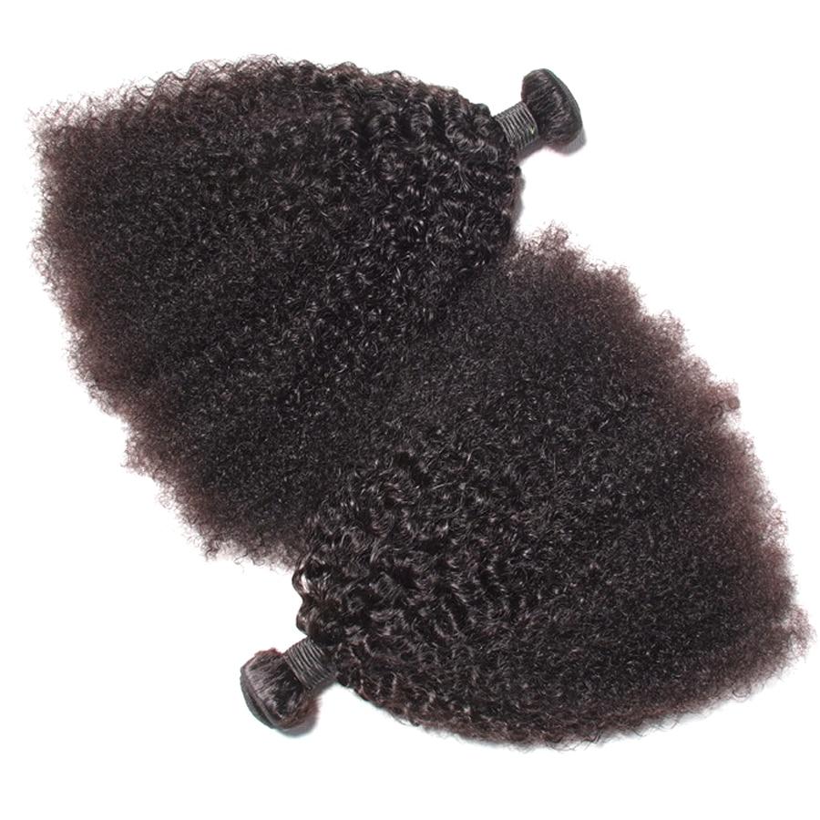Mongol haj Afro Kinky göndör hajhosszabbítás Emberi haj köteg - Emberi haj (fekete) - Fénykép 4