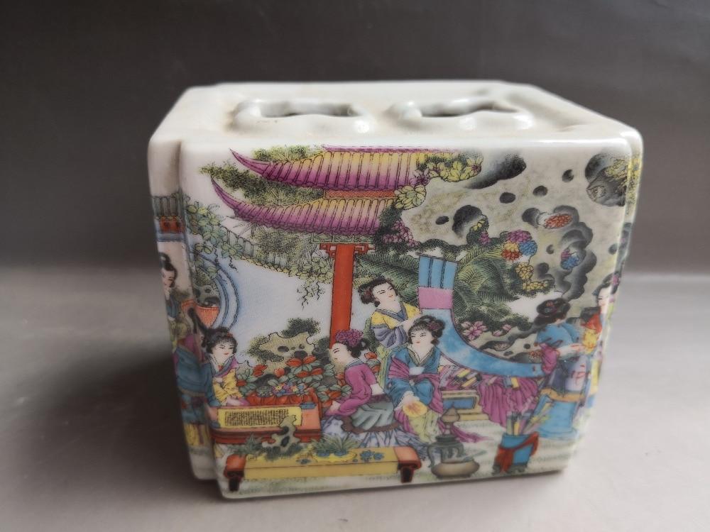 Chinese old porcelain Painted glaze porcelain vase brush pot