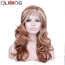 Alizing Light Brown Lace frontal Wig L part Golden High Temperature Fiber Synthetic Hair Front Big Long wave k040