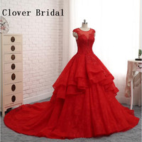 Red Wedding Dresses Lace Ball Gown Luxury Long Train Vestidos De Noiva Robe De Mariage