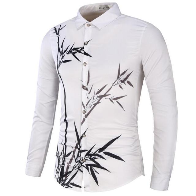 80f4527e026d Long Sleeve Hawaiian Print Shirt Men Fashionmen s Casual Floral White Blue  Big Size Mens Shirts Slim