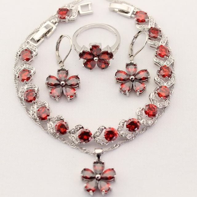 Mujeres Sistemas de la Joyería de los encantos de Plata Flor de Navidad de Color Creado Rojo Granate Collar de Circón Colgante Pendientes de Gota Anillos Pulsera